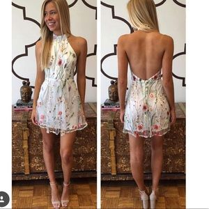 Floral print off white halter mini dress